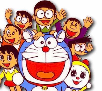 nobita, sizuka,gian, suniyo, nobit's dad mom, dorami, or doraemon
