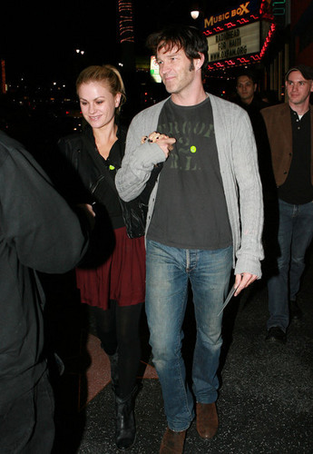 Anna Paquin and Steven Moyer oustide the Radiohead charity concerto at the Henry Fonda Theatre