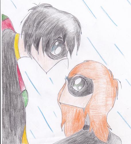 Batgirl & Robin in the rain