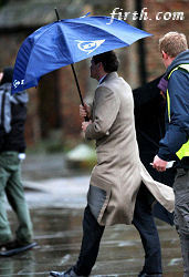 Colin Firth on set of The King's Speech