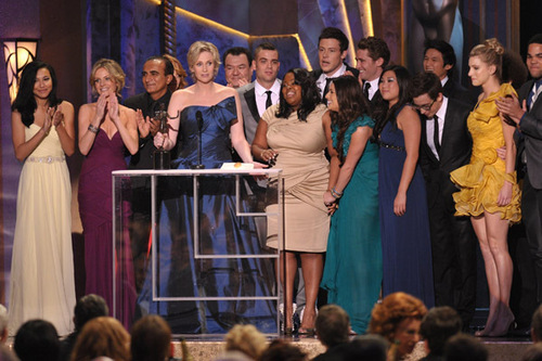 ग्ली cast @ the SAG awards 2010