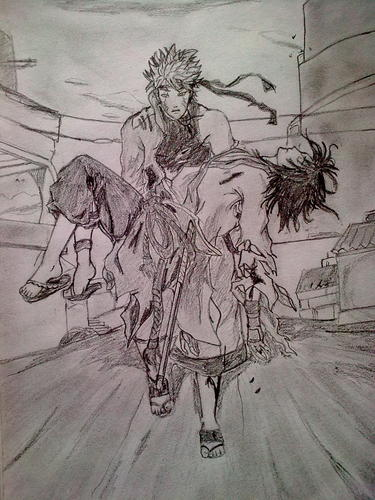 It's my 1st black and white Naruto drawing.what do u guys think:painted یا black and white?