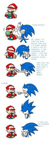 Sonic the Hedgehog wallpaper called Mario vs. Sonic Comic Funny