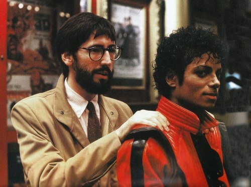 "Michael and John Landis on ""Thriller's"" set"