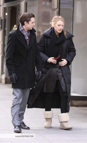 Sebastian Stan on set of GG (January 2010)