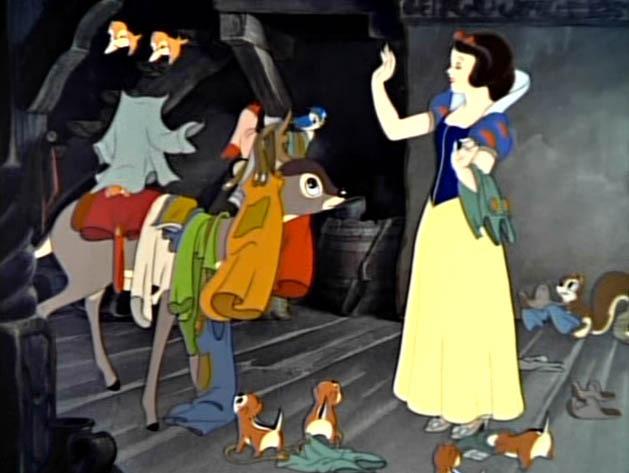 Snow White Cleans the Dwarfs' House