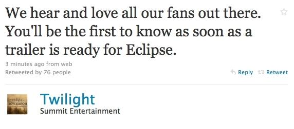 Summit tweets about Eclipse trailer