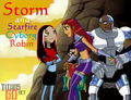 *Request for dramalyric* Storm and Starfire, Cyborg, Robin