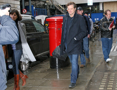 Colin Firth leaving Radio 2 offices on 29/01/10