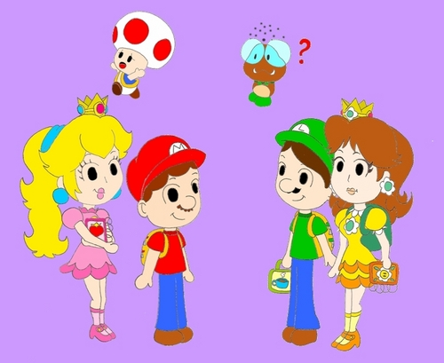 Mario and Peach wallpaper titled School Days