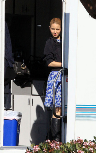 Dianna Agron on the set of Glee