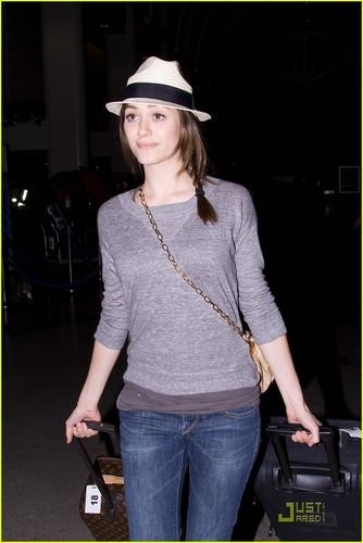 Emmy Rossum is Plane Catching Cute