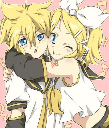 Rin und Len Kagamine Hintergrund titled Hug