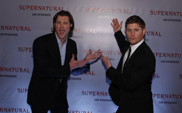Jared and Jensen at the 100th episode party