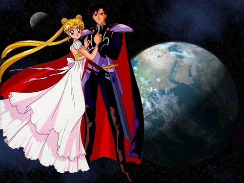 Sailor Moon karatasi la kupamba ukuta called Sailor Moon & Tuxedo Mask