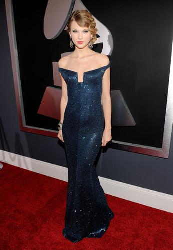 Taylor Grammy Arrival Blue Dress