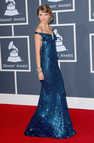 Taylor Grammy Arrival Blue Dress