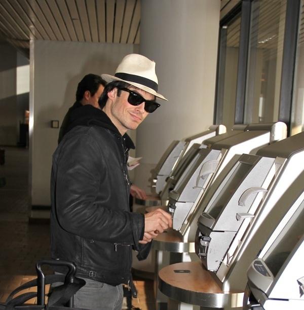 ian somerhalder- New York City Laguardia airport (1/2/10)