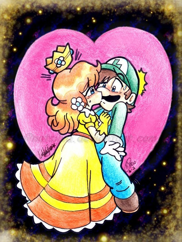 Mario and luigi kissing peach