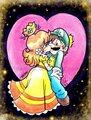 A kiss in Space - luigi-and-daisy fan art