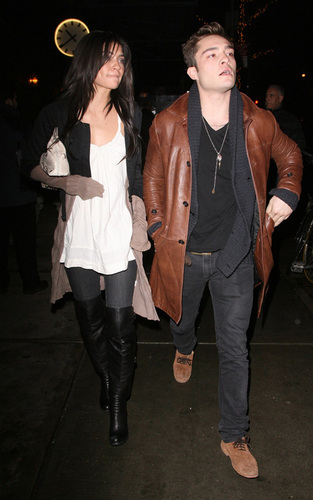 Ed Westwick and Jessica Szohr in NYC