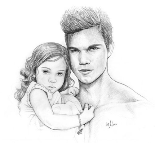 Renesmee and Jacob drawing