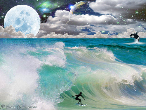 God-The creator Hintergrund titled Surfing Heaven