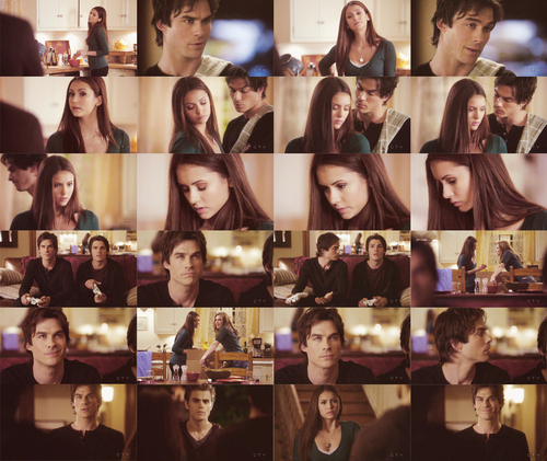 kitchen scene - damon-and-elena Photo