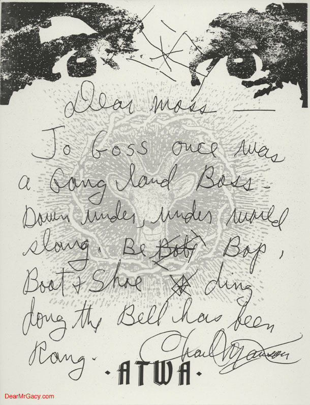 Serial Killers Charles Manson letters to Jason Moss with his Eyes