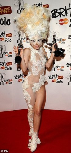 Gaga at the Brits 2010