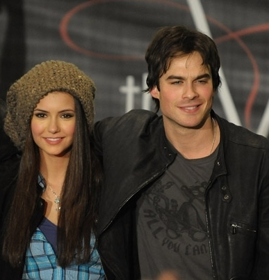 Ian Somerhalder and Nina Dobrev wallpaper titled Ian & Nina - Hot Topic Tour CA