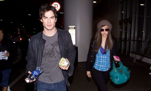 Ian Somerhalder and Nina Dobrev wallpaper called Ian Somerhalder & Nina Dobrev - LAX Airport (HQ)