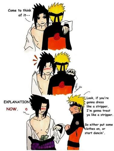 Naruto thinks Sasuke looks like a stripper XD