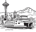 Seattle Ferry, Mountains, and Space Needle