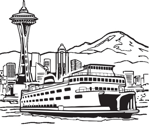 Seattle Ferry, Mountains, and o espaço Needle
