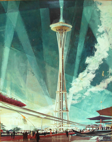 Seattle puwang Needle's Architectural Rendering