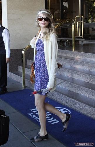 Taylor leaving the Hilton Adelaide Hotel in Australia (Feb 13)