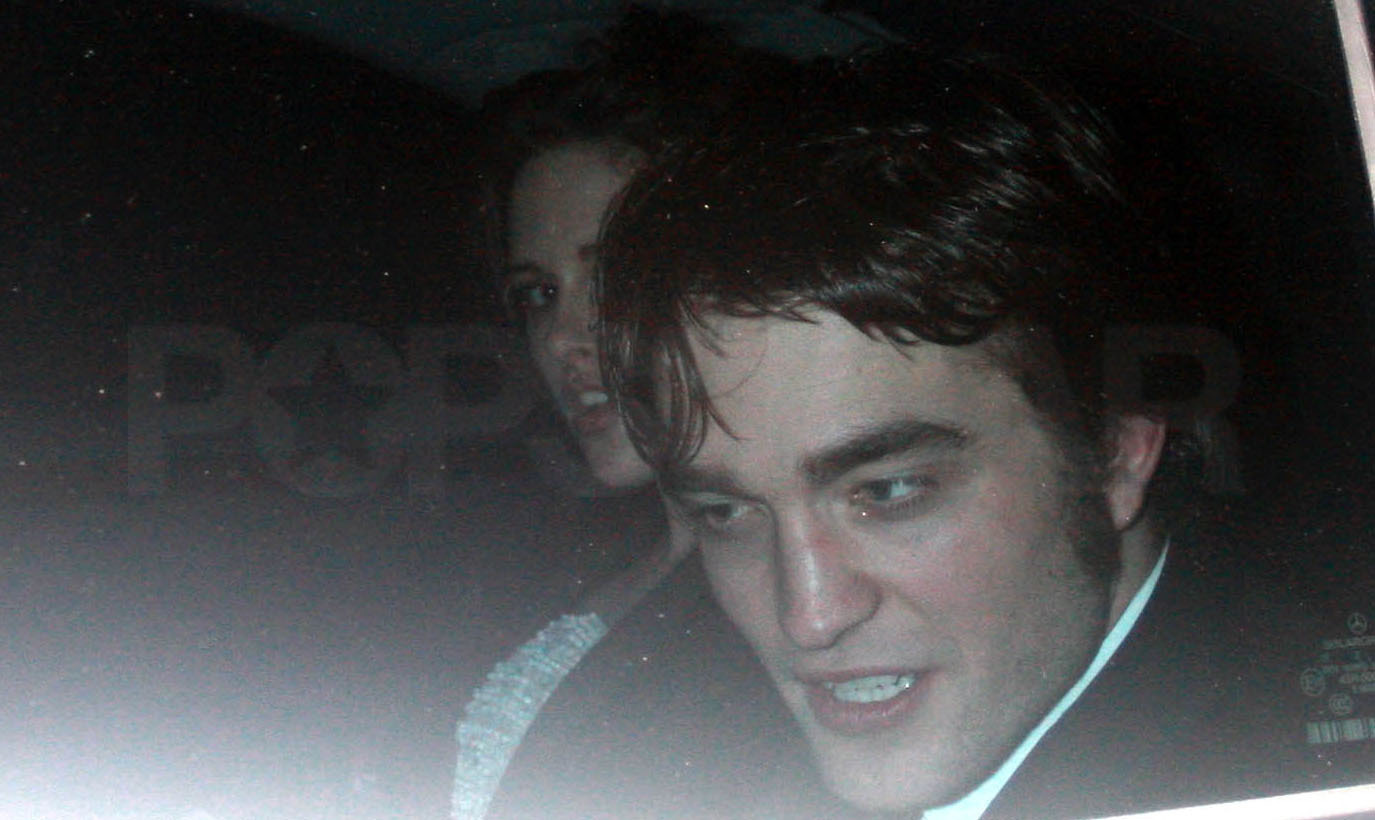 Robert and Kristen leaving Bafta's Afterparty
