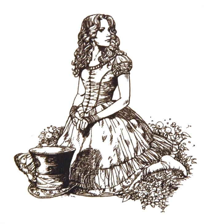 Alice in Wonderland Line Drawings