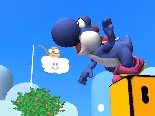 Blue Yoshi in Yoshi's Island