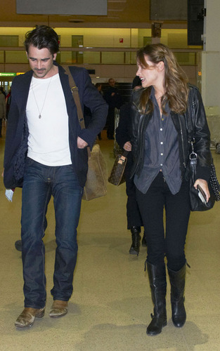 Colin Farrell and Alicja Bachleda-Curus arriving at Heathrow Airport (Feb 18)