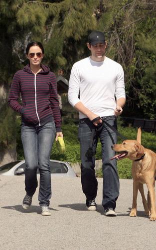 Emily Blunt and John Krasinski at a West Hollywood dog park (Feb 20)