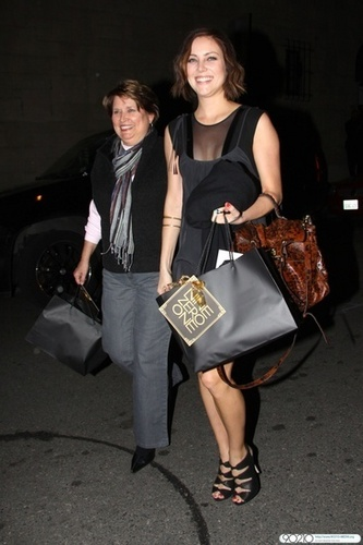 Jessica Stroup arrives at Nine Zero One with her Mom