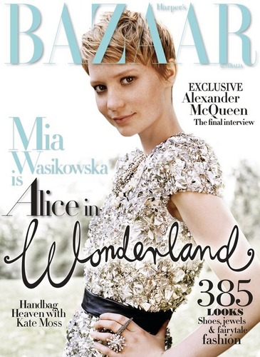 Mia Wasikowska on the cover of Harper's Bazaar