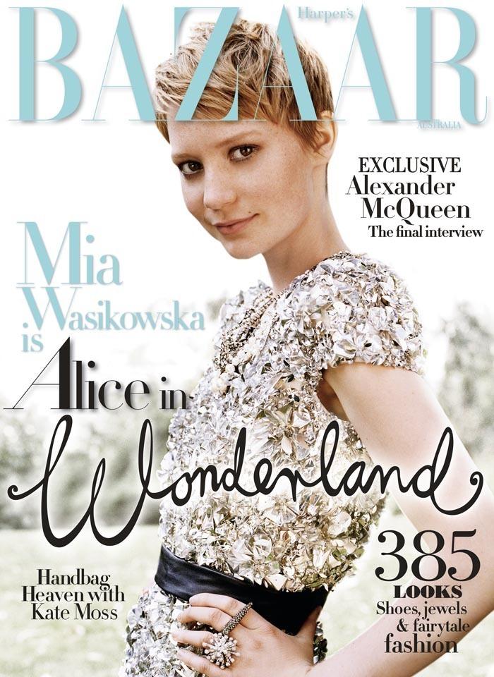Mia Wasikowska on the cover of Harper's Bazaar