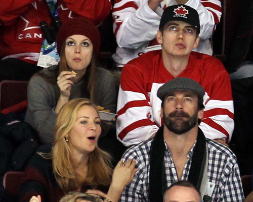 Rachel Bilson and Hayden Christensen at the USA/Canada hockey game (Feb 21)
