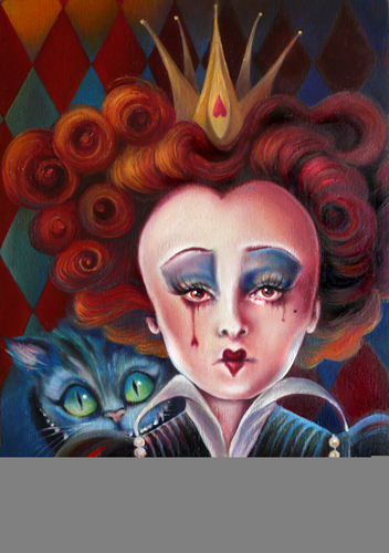 Alice in Wonderland (2010) karatasi la kupamba ukuta called Red Queen Oil Painting