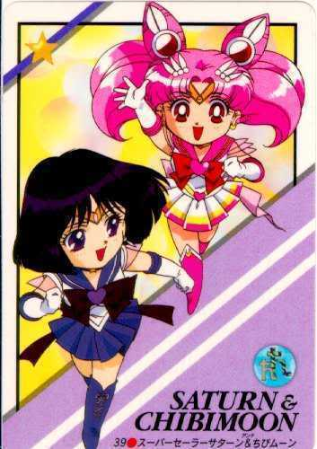 Sailor चीबी Moon (Rini) with Sailor Saturn