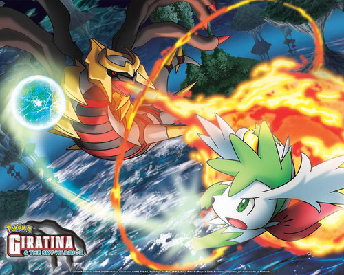 Sky Shaymin and Giratina - pokemon Wallpaper