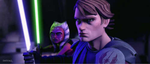 anakin and ahsoka ready to fight